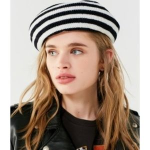 Urban outfitters black white striped beret